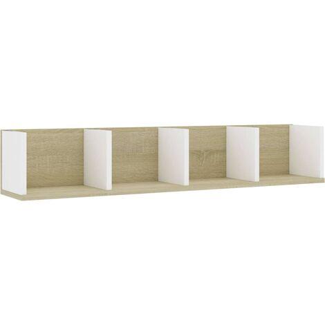 Estante pared CD aglomerado blanco y roble Sonoma 100x18x18cm