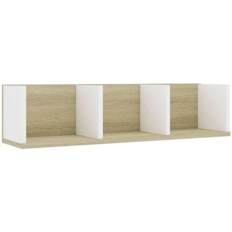 Estante pared CD aglomerado blanco y roble Sonoma 75x18x18 cm