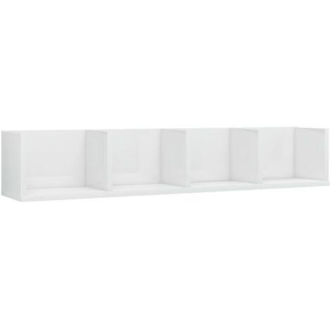 Estante pared para CD aglomerado blanco brillante 100x18x18 cm