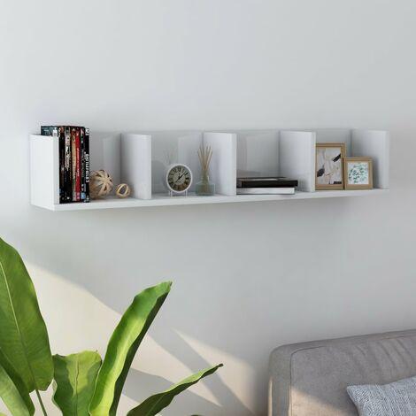 Estante pared para CD aglomerado blanco brillante 100x18x18 cm - Blanco