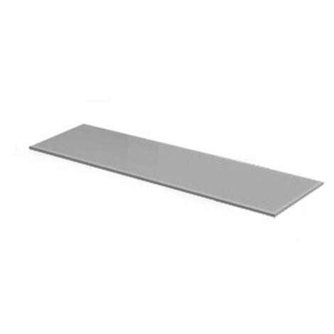 Estante rectangular de cristal de estilo funcional, acabado en aluminio y 150 mm de profundidad.