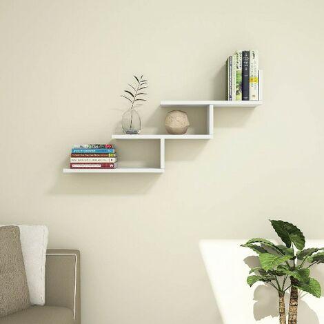 Estante Support de Pared, para Libros - para Salon, Oficina - Blanco en Madera, 98,2 x 20 x 50,4 cm