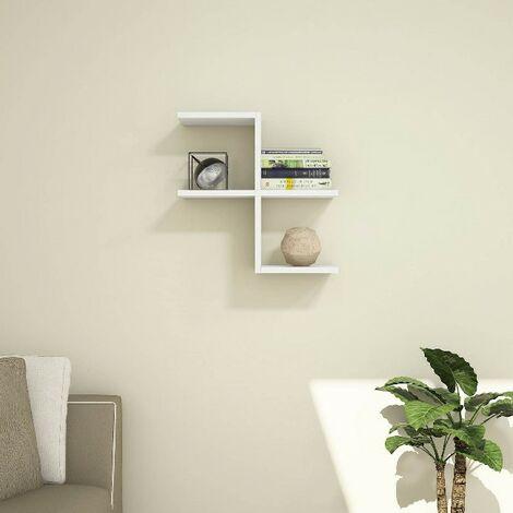 Estante Swan - Flotante, de Pared, para Libros para Salon, Oficina - Blanco, in Aglomerado Melaminico, PVC, 50x22x50 cm