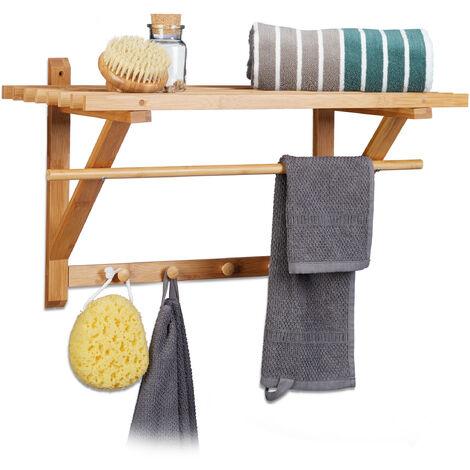 – Estante toallero de pared con perchero hecho de bambú con medidas 35 x 60 x 30 cm aprox. Peso 1.55 kg con 4 ganchos para colgar toallas para el baño pasillo, color natural