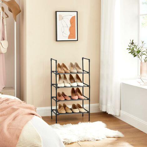 Estante zapatero 4 niveles, Estante para zapatos, Estante tela no tejida, Marco de metal, para el Pasillo, Dormitorio, Sala de estar, 45 x 28 x 80 cm, Negro/Gris