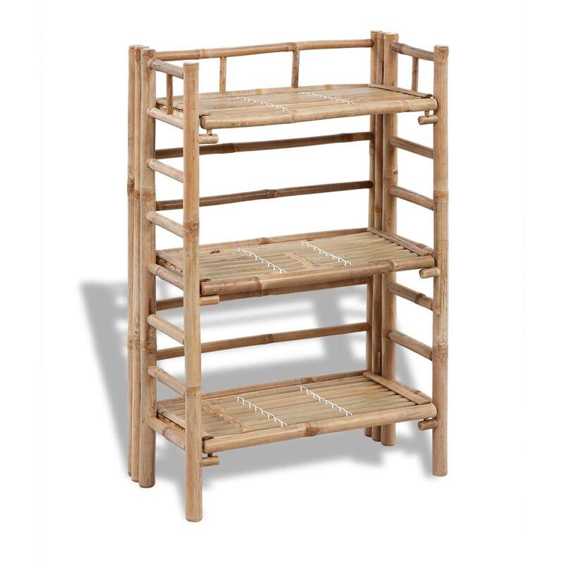 Estantería de bambú con 3 niveles para plantas - Marrón