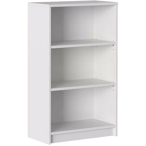 Estantería 100 cm Blanco mate con 3 estantes serie Stoccolma | Blanco