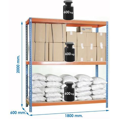 Estanteria 3 baldas sin tableros Azul/naranja - NEOFERR - PT0974 - 200X180X60