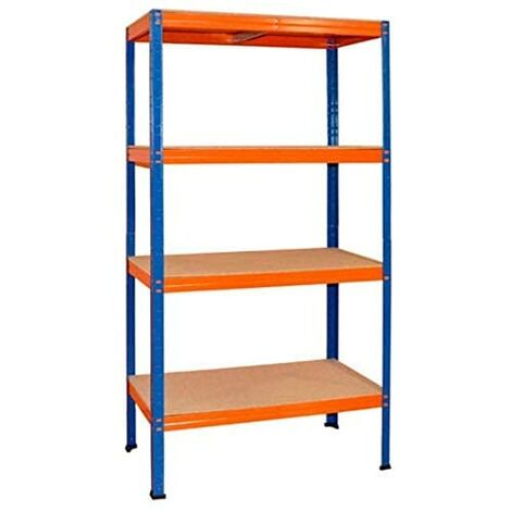ESTANTERÍA 5 baldas Sin tornillos 177x90x45cm 250kg/balda Azul/naranja