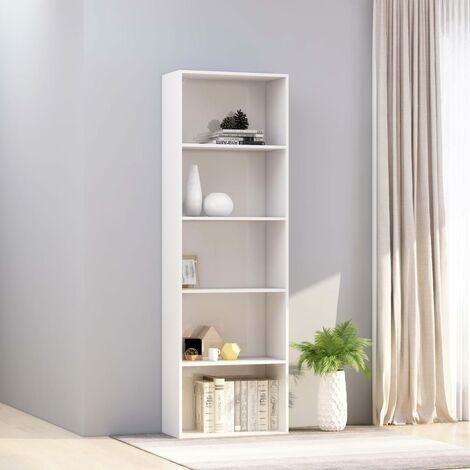 Estanteria 5 niveles aglomerado blanco brillante 60x30x189 cm