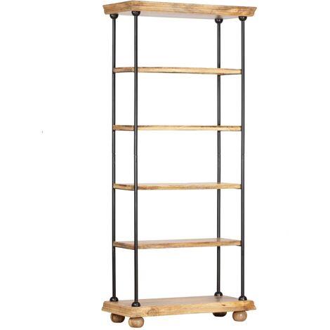 Estanteria 5 niveles madera maciza mango y acero 80x35x180 cm
