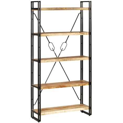 Estantería 5 niveles madera mango maciza y acero 90x30x180 cm