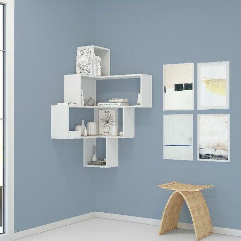 Estanteria Alison - con Estanterias - Libro, Objetos, Esquina - Pared, Salon, Oficina - Blanco en Aglomerado de melamina, 70 x 70 x 122,5 cm