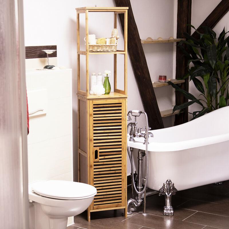 – Estantería armario de pared con 6 estantes para el cuarto de baño hecho  de bambú con medidas 170 x 33,5 x 28 cm también es un elemento decorativo,  ...