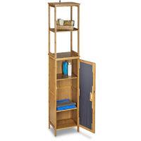 – Estantería armario de pared con 6 estantes para el cuarto de baño hecho de bambú con medidas 170 x 33,5 x 28 cm también es un elemento decorativo, color natural