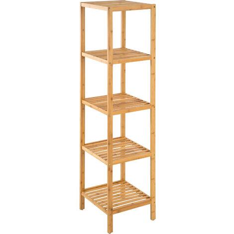 Estantería bambú 33x33x141cm - mueble para baño con estantes, mueble bajo versátil para lavabo con repisas, mobiliario de ducha con baldas de madera - marrón