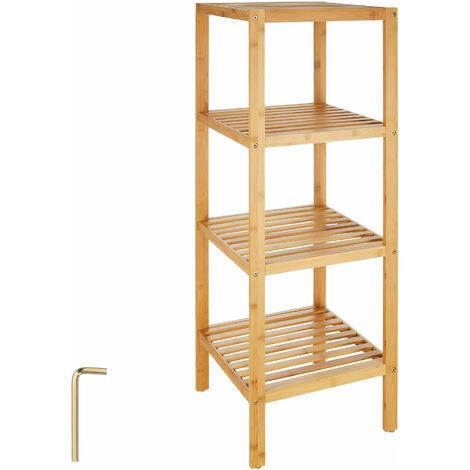 Estantería bambú 33x33x97cm - mueble para baño con estantes, mueble bajo versátil para lavabo con repisas, mobiliario de ducha con baldas de madera - marrón