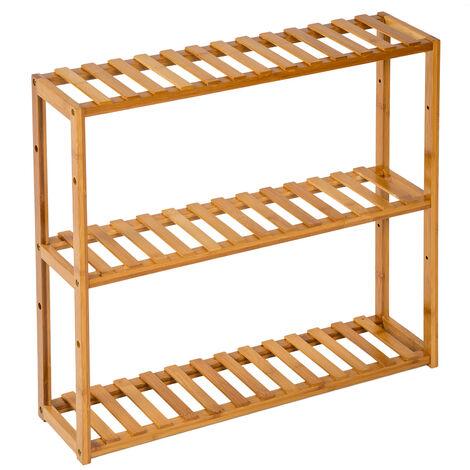 Estantería baño bambú 60x15x54,5cm - mueble para baño con estantes, mueble bajo versátil para lavabo con repisas, mobiliario de ducha con baldas de madera - marrón