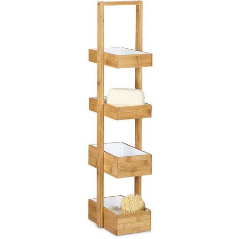 - Estantería colgante con 4 bandejas para la ducha/cuarto de baño hecho de bambú con medidas 88,5 x 25,5 x 18,5 cm, color natural