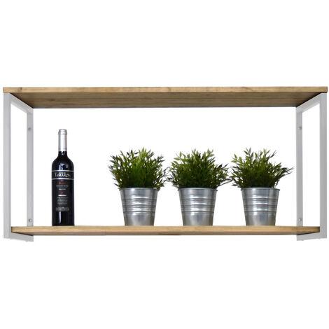Estantería colgante Icub 100x30cm blanco madera efecto vintage estilo industrial Box Furniture - 30X100X47 cm - Blanco - Efecto Vintage - Pino 18 mm - 2 U.d