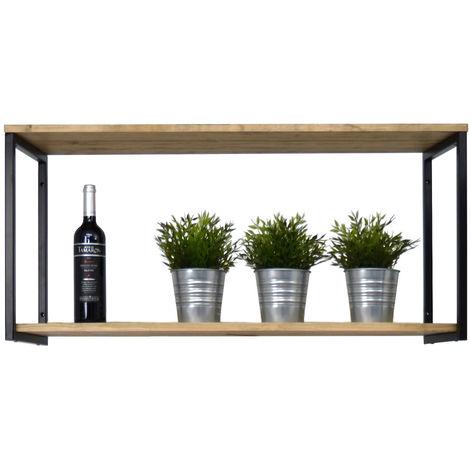 Estantería colgante Icub 100x30cm negro madera efecto vintage estilo industrial Box Furniture - 30X100X47 cm - Negro - Efecto Vintage - 1.8