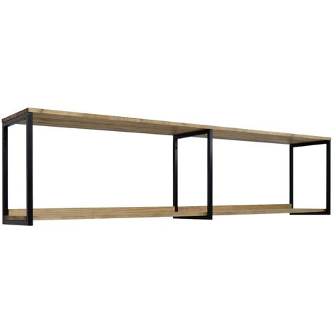Estantería colgante Icub 180x30cm Negra madera efecto vintage estilo industrial Box Furniture - 30X180X47 cm - Negro - Efecto Vintage - 1.8
