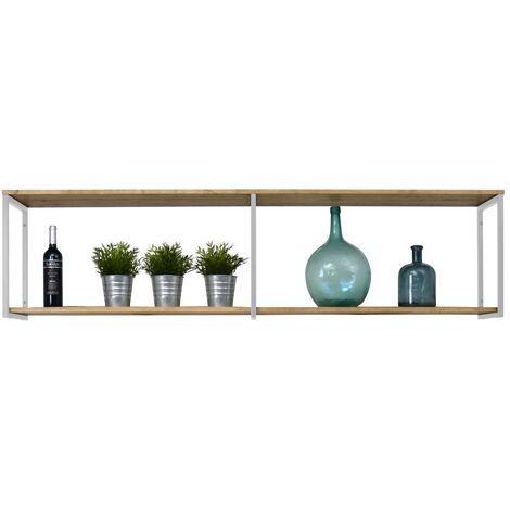 Estantería colgante Icub 198x30cm blanco madera efecto vintage estilo industrial Box Furniture - 30X198X47 cm - Blanco - Efecto Vintage - Pino 18 mm - 3