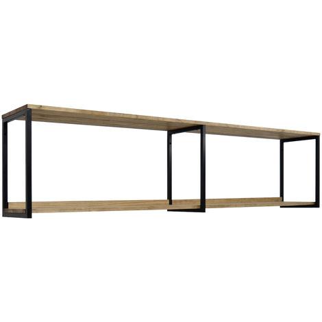 Estantería colgante Icub 198x30cm Negra madera efecto vintage estilo industrial Box Furniture - 30X198X47 cm - Negro - Efecto Vintage - 1.8