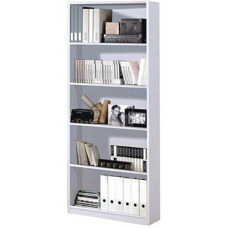 Estantería color blanco artik librería oficina despacho estudio decoración 201x80x28 cm