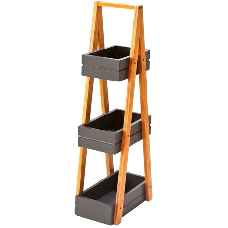 Estantería con 3 cestas de bambú natural nórdica gris de 81x18x30 cm