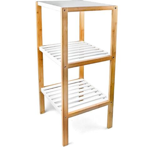 – Estantería con 3 estantes para el cuarto de baño hecho de bambú con medidas 80 x 33 x 34 cm, color natural
