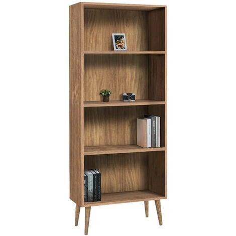 estanteria con baldas regulables diseno vintage, acabado madera maciza natural encerado.