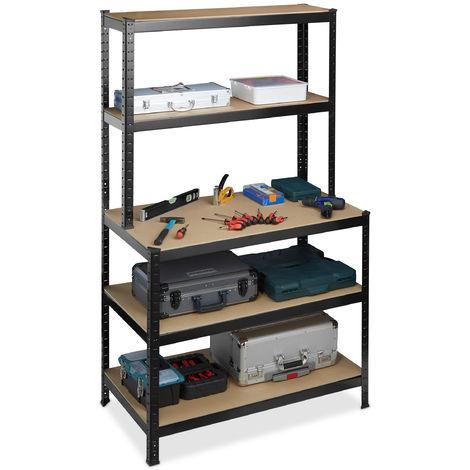 Estantería con banco de trabajo, 900 kg, Cinco estantes, Ensamblaje, 180x100x60 cm, Metal, MDF, Negro