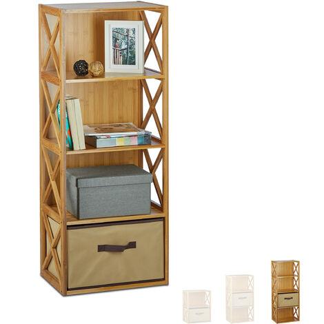 Estantería con cesta de almacenaje, Madera, Cuatro estantes, Caja plegable, 105 x 42 x 49 cm, 1 Ud., Marrón