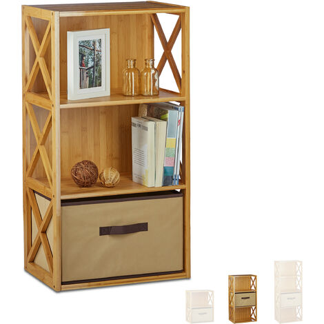 Estantería con cesta de almacenaje, Madera, Tres estantes, Caja plegable, 80 x 42 x 49 cm, 1 Ud., Marrón