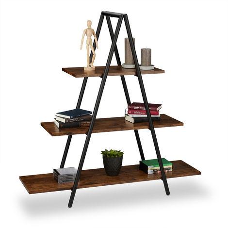 Estantería con forma de escalera, Tres estantes, MDF, Acero, Marrón, 121,5 x 120 x 36 cm