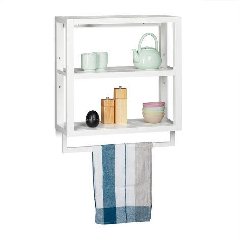 Estantería con tres estantes, Toallero, Mueble auxiliar colgante, Bambú, Para pared, Blanco, 59x52x21 cm