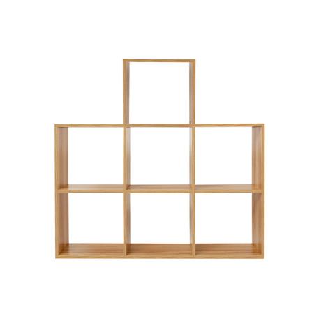 Estantería cubos Librería 7 Huecos cuadrados Color roble Decoración Almacenaje Separador ambientes