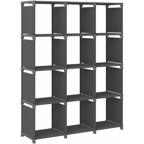 Estantería de 12 cubos de tela gris 103x30x141 cm