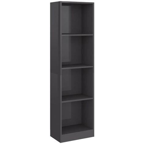 Estantería de 4 niveles aglomerado gris brillante 40x24x142 cm