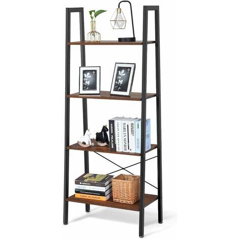 Estantería de 4 Niveles con Marco de Metal Estante de Almacenamiento Diseño Industrial Librería Escalera para Oficina Salón Escritorio