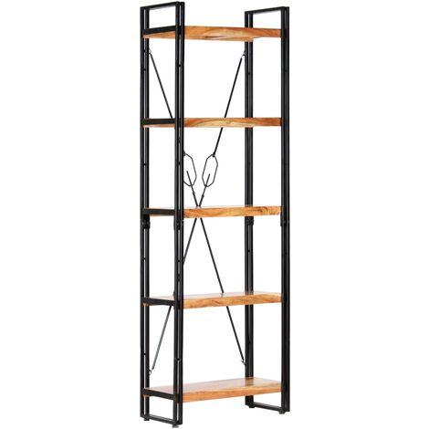 Estantería de 5 niveles madera maciza de acacia 60x30x180 cm