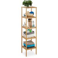 – Estantería de 5 pisos hecho de bambú con medidas 34 x 34 x 140 cm plataforma de cuarto de baño rustico madera estante de pie, natural