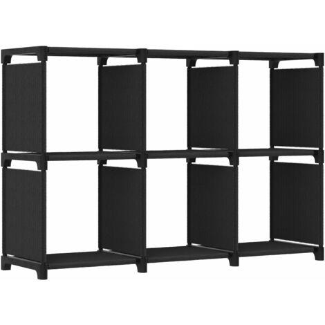 Estantería de 6 cubos de tela negra 103x30x72,5 cm