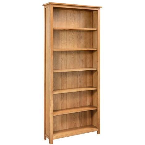 Estanteria de 6 niveles de madera maciza de roble 80x22,5x170 cm