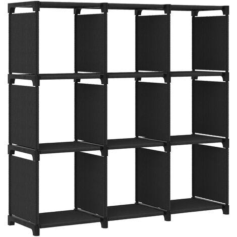 Estantería de 9 cubos de tela negra 103x30x107,5 cm