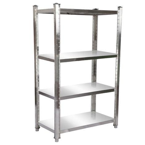 Estantería de acero inoxidable 120x50x155cm con 4 baldas para hostelería, cocina industrial, almacén