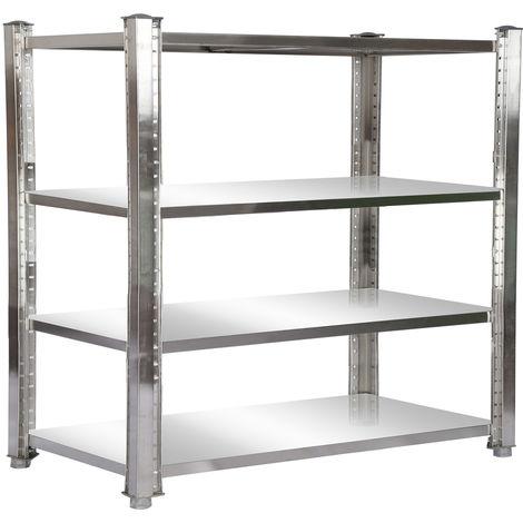 Estantería de acero inoxidable 180x50x155cm con 4 baldas para hostelería, cocina industrial, almacén