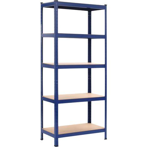 Estantería de acero y MDF 80x40x180 cm azul