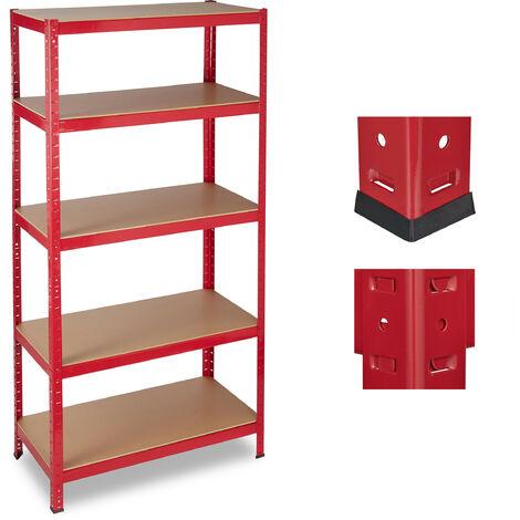 Estantería de almacén, Capacidad de 1325 kg, Cinco estantes, 180x90x45 cm, Metal, MDF, Rojo